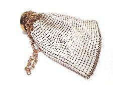 Vintage Ivory Mesh Accordian Wristlet Beggars Purse Bag