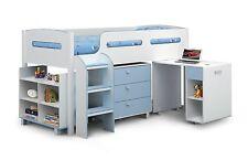 Kids Blue White Julian Bowen Kimbo Cabin Bunk Mid Sleeper Bed Storage Desk