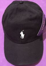 Ralph Lauren Polo Gorra De Béisbol Negro Blanco Pequeño Pony Con Etiqueta. (vendedor del Reino Unido)