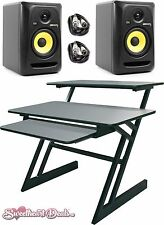 KRK RP5G3 Rokit 5 G3 Powered Studio Monitor Speakers Pair + QuikLok Z-250 Desk