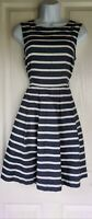 Womens Dorothy Perkins Dress size 10 denim blue white stripes fit&flare vgc