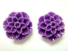 Plata esterlina 925 Púrpura Flor De Coral Tallada Aretes Conjunto De Crisantemo