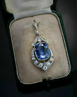 5Ct Blue Sapphire & Round Diamond Vintage Art Deco Pendant 14k White Gold Finish