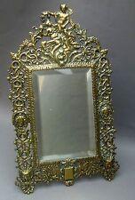 Espejo de Mesa de Latón Antiguo 19thC recargado ~ rococó francés Dama y máscara/caballete nuevo