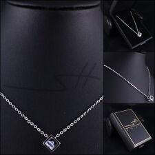 Kette Halskette *Würfel mit Diamant*, Weißgold pl, Swarovski Elements, inkl Etui