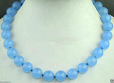 "White Gold 10mm Natural Blue Jade Gemstone..18"".Necklace - Gift Boxed"