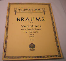 Brahms Variations on a Theme by Paganini Book II for the Piano - Schirmer (M36)