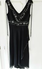 Ladies New Black Debut Midi Sleeveless Evening/Party Beaded Wrap Dress Size 10