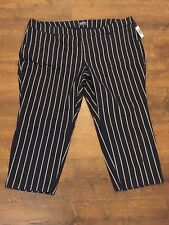Women's OLD NAVY Blue/White Striped Capri Pants, Size 28 Plus Reg, NEW WITH TAGS