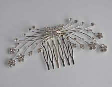 Clear crystal/diamante butterfly spray wedding hair comb/slide. Silver plated.