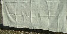 """Antique Edwardian Embroidered Heavy Linen Tablecloth To Finished 84"""" L X 68"""" W"""