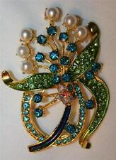 Blue Flower Bouquet Goldtone Brooch Pin Lovely Deep Blue Enamel Ribbony SimPearl