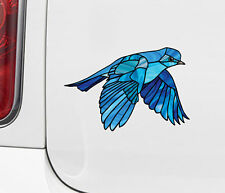 "CLR:CAR - Bluebird in Flight Bird Stained Glass Vinyl Car Decal ©YYDC 5.7""w x4""h"