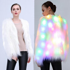 New Women LED White Faux Fur Warm Coat Jacket Christmas Party Parka Outwear AE