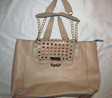 EDWIN REVOLUTION stidded tan nude vegan punk gothic lolita XL satchel bag NEW