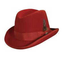 STACY ADAMS * MEN RED WOOL HOMBURG HAT M L XL * NEW DRESS LINED GODFATHER FEDORA