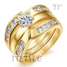 TTstyle Princess Cut THICK 14K Gold GP S.Steel Engagement Wedding Band Ring Set