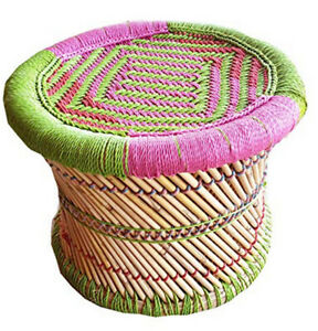 Rajasthani Eco-Furniture Mudda for Outdoor/Indoor (FootStool) Multicolored 1 Pc