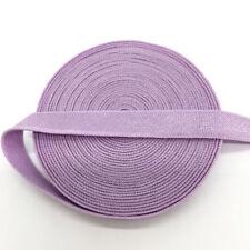 "5yds 3/8"" Light purple Fold Over Multirole Elastic Spandex Band Lace Sewing Trim"