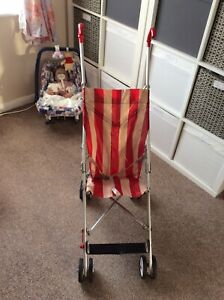 Vintage Maclaren pushchair, Original baby buggy 60's/70's Butchers stripe Rare