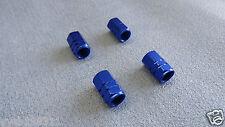 ALFA ROMEO BLUE FULL METAL DUST VALVE CAPS TYRE WHEEL SOLID HEXAGON COVER