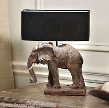 "17"" Brown Elephant Base Safari Design Table Lamp w Black Polyester Shade  NEW"