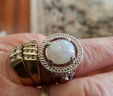 Sterling Silver Plated Simulated Fire Opal Halo Cocktail Ring Statement Sz 8