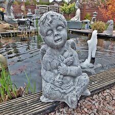 Steinfigur Engel Steinguss Engelsmotiv Putte Blume Gartendeko Grabschmuck 37cm H