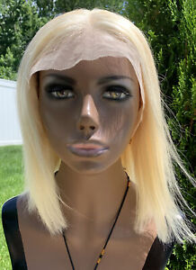 Lace Front Real Human Hair Wig Blonde Straight 10 inches 100% Natural