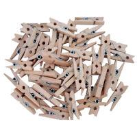 100 Teile / Satz 25Mm Mini Holz Clip Natürliche Handwerk Pin Linie Foto Bab K4Y8