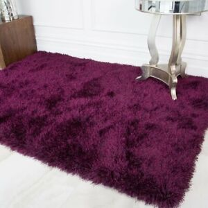 Quality Purple Plum Shaggy Rugs Thick Deep Non Shed Warm Living Room Area Rug