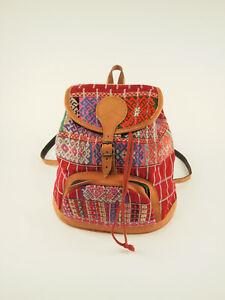 vintage colorful hand-woven boho backpack