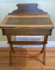 Antique Wood Childs Double Flip Top Desk