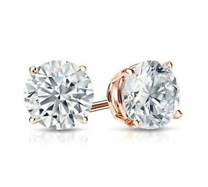 1Ct Diamond Stud Earrings in 14k Rose Gold Over Women's Men's Stud Earrings
