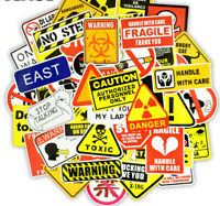 50 Warning Sign Stickers Lot Danger Laptop Phone Mac Waterproof Caution Funny