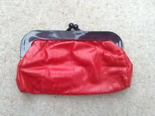 Vintage Early 80's English Made Red Faux Leather Plastic Framed Snap Clutch Bag