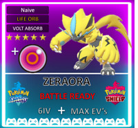 Pokemon Sword & Shield 6IV EVENT ZERAORA! MAX EV 6IV! BRAND NEW! zekrom mewtwo