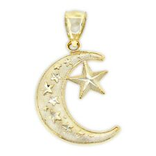 Gold Moon and Star Charm, 14k Solid Gold