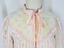 Vintage Belle Fleur Quilted Lace Calico Robe Housedress Loungewear Womens L Pink