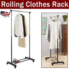 Single Bar Scalable Clothes Stand Hanging Garment Rack Hanger Closet Shoe Shelf