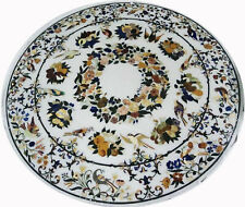 """42"""" Marble Table Top Semi Precious Stones Inlay Home Furniture"""