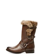 Frye Jamie Luxe Moto Western Cowboy Boot Rabbit Fur Lined Biker Bootie  11 Brown
