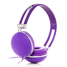 Adjustable Overhead Matte Funky DJ Headphones Purple 3.5mm for Kids Childs Girls