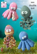OCTOPUS & SQUIDGY SQUID IN 2 SIZES BABY TOY KNITTING DK PATTERN KING COLE 9092