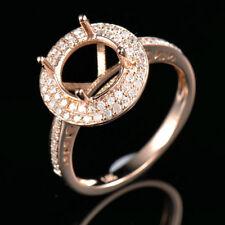 Genuine 14K Solid Rose Gold Round 8.0MM Natural Diamond Gemstone Semi Mount Ring