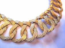 Vintage 1970's Egyptian Revival CLEOPATRA Woven GOLD Tone CHOKER Collar NECKLACE