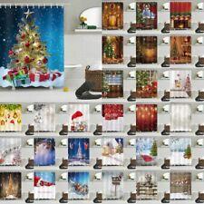 "Christmas Ball Santa Snow 72/79"" Polyester Waterproof Shower Curtain Bath Decor"
