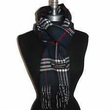 100% CASHMERE SCARF MADE IN SCOTLAND PLAID DESIGN SUPER SOFT UNISEX, Gunmetal