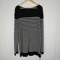 Ksubi Breton Stripe Long Sleeve T Shirt Black White Oversized Mens Size M