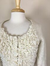 Anthropologie Sleeping on Snow Sweater Cardigan Sz L Fluffy Wool Blend Ivory